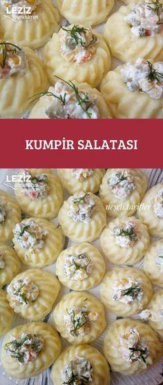 Kumpir Salatası – Leziz Yemeklerim – Vegan yemek tarifleri – The Most Practical and Easy Recipes Turkish Recipes, Ethnic Recipes, Happy Cook, Mini Foods, Baked Potato, Potato Salad, Food And Drink, Appetizers, Potatoes