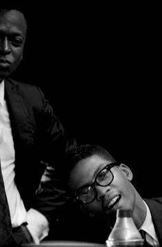 Miles Davis and Herbie Hancock, by Jean-Pierre Leloir