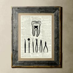 Dental Tools - Printed on a Vintage Dictionary Page 8X10. $8.00, via Etsy.
