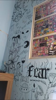 18 Inspirational Ideas For Bedroom Art Artworks Bedroom Artwork, Room Ideas Bedroom, Bedroom Decor, Artwork Wall, Bedroom Inspo, Bedroom Wall, Wall Murals, Wall Art, Doodle Wall