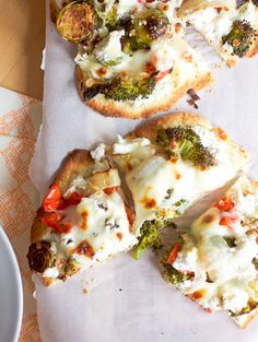 Roasted Veggie Pizzas by Smells Like Home: uses tortillas instead of pizza dough!
