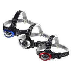ECAREE HLF3001400 10 LED Head Light - 3 Pieces (1 Red + 1 Blue + 1 Silver)