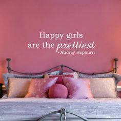 "Perfect decal for a dressing room! Happy Girls Are The Prettiest Quote Wall DECAL 30"". $19.99, via Etsy."