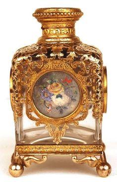 Antique 19th Century Napoleon III Glass and Bronze Doré Scent Bottle