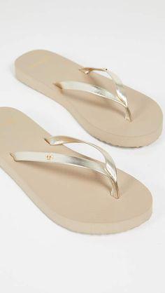 6538663d841ce5 Metallic Leather Flip Flops