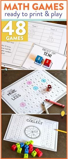 These first grade printable math games are perfect for math centers! There are 48 different games that are all black and white and only need cubes, dice, and some crayons to play! Addition, subtraction, number sense and more skills are covered! Head over to see more!