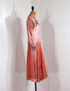 1920's Antique Vintage Champange-Pink Satin and Sheer-Chiffon Couture Heavily-Beaded Rhinestone Deco-Floral Applique Flapper-Fairy Goddess Drop-Waist Princess Wedding Formal Evening Cocktail Party Dress