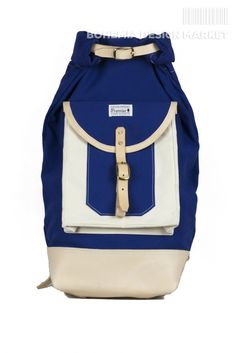 Roll top rucksack #limited #edition #blue #white #rolltop #leather #element #original #local #production #rucksack #travel #nomad #traveler Backpack 2017, Rucksack Backpack, Bohemia Design, Top Backpacks, Leather, Stuff To Buy, Handmade, Blue, Travel