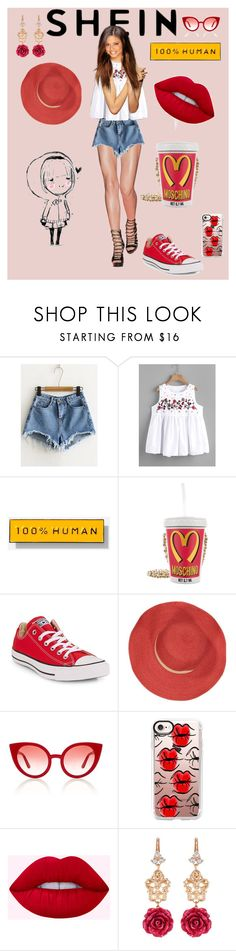 """""""M is for Most Adorable   Shein- Denim shorts"""" by bluehatter ❤ liked on Polyvore featuring Everlane, Moschino, Converse, Bleu Comme Gris, Spektre, Casetify and Dolce&Gabbana"""