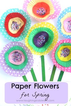 Simple cupcake paper flowers craft for kids to make and learn about the Spring season. Lovely art for classroom and home display.