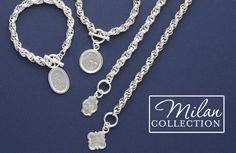 Hand engraved Monogram charm Bracelets and Pendants in Sterling Silver