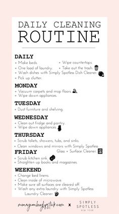 How to create a daily cleaning routine spring cleaning tips and hacks Deep Cleaning Tips, Cleaning Solutions, Cleaning Hacks, Diy Hacks, Cleaning Vinegar, Clutter Solutions, Speed Cleaning, Cleaning Products, House Cleaning Checklist