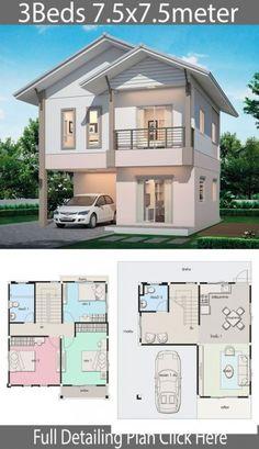Haus Design Plan mit 3 Schlafzimmern Home Design with Plan House Plans 3 Bedroom, Duplex House Plans, Dream House Plans, Small House Plans, Tiny House 3 Bedroom, Micro House Plans, Two Storey House Plans, Family House Plans, Luxury House Plans