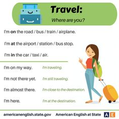 Phrases - Travel: Where are you? English Fun, English Tips, English Idioms, English Study, English Class, English Lessons, English Grammar, Teaching English, Learn English