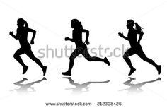 silhouette of female sprinter