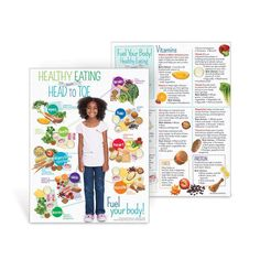 """8 ½"""" x 11"""", 50 sheets, 2-sided Fuel your whole body by making the healthiest food choices that benefit your body. The Healthy Eating from Head to Toe Handout shows nutritious food choices grouped together by the parts of the body they benefit most, including your brain, hair, skin, teeth, bones, heart, muscles, eyes, and digestive system. The handout backside covers the roles important vitamins, minerals, healthy fats, protein, fiber, and good bacteria play in your body, along with brief lists o Healthy High Protein Meals, Healthy Eating Habits, High Protein Recipes, Healthy Food Choices, Nutritious Meals, Healthy Kids, Healthy Recipes, Nutrition Education, Head To Toe"""