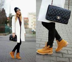 Love this casual outfit.the timberland boots look so cute with the entire black and white winter outfit.