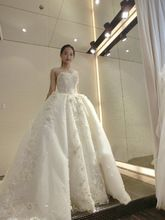 2016 New Ball Gown Lace Wedding Dress Long Train Sexy Plus Size Bride Gown Robe Mariage Luxury Wedding Dress for Brides //FREE Shipping Worldwide //