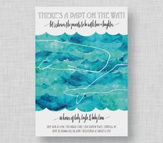 Whale Baby Shower Invitation | Watercolor Whale Invite, Nautical Baby Shower, DIY Shower Stationary, Ocean, Whale, Waves by kandsdotco on Etsy https://www.etsy.com/listing/294749639/whale-baby-shower-invitation-watercolor
