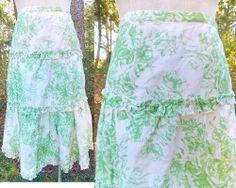 Charlotte Russe Skirt Sz L 13 Floral Full Ruffle Victorian Modest Knee Length
