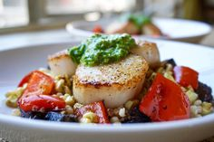 SEARED SCALLOPS with a CREAMY HERB SAUCE and ISRAELI COUSCOUS - This ...