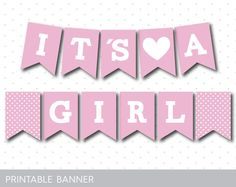 Candy pink printable baby shower banner, PB-293
