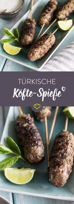 Turkish kofta skewers from the grill- Türkische Köfte-Spieße vom Grill These fantastic kofta skewers with garlic, parsley and cumin are a dream for any barbecue lover. Keto Foods, Turkish Recipes, Mexican Food Recipes, Dishes Recipes, Appetizers For Party, Appetizer Recipes, Delicious Appetizers, Quick Recipes, Keto Recipes