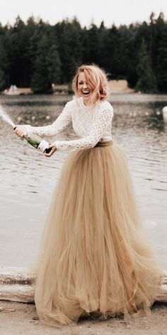 Colourful Wedding Dresses For Non-Traditional Bride ★ colourful wedding dresses yellow tulle a line lace wight top long sleeve Colored Wedding Dresses, Boho Wedding Dress, Wedding Colors, Bridal Dresses, Wedding Gowns, Bridesmaid Dresses, Second Wedding Dresses, Yellow Dress Wedding, Civil Wedding