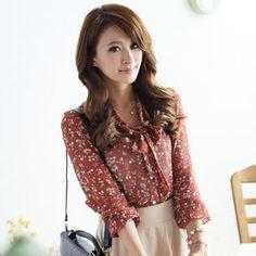 When granny blouse patterns work! ;)    //'Tokyo Fashion -  Tie-Neck Floral Chiffon Blouse'