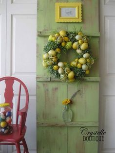 Magazine Look-alike photo  Red highchair, green door, some yellows and lemon citrus treasures  CrystelleBoutique