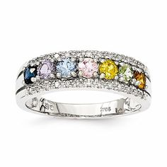 14k White Gold Multi-Sapphire & Diamond Ring
