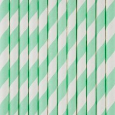25 pale green and white striped straws
