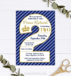This editable and printable prince 5x7 invitation is perfect for a boy's 2nd birthday party themed in royal blue and gold! 2nd Birthday Invitations, Birthday Invitation Templates, Prince Birthday Party, 2nd Birthday Parties, Royal Blue And Gold, Edit Online, Photo Center, Printing Companies, Stationery