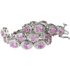 6.79ctw Sapphire Diamond Bracelet 14k Gold Pink Sapphire Tennis Bracelet