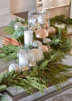Silver and Gold Christmas Centerpiece with Evergreens on a glass coffee table Real Christmas Tree, Christmas Coffee, Christmas Mantels, Gold Christmas, Christmas Balls, Simple Christmas, Christmas Home, Christmas Candle, Christmas Ideas