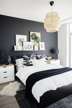See how a dramatic black wall can instantly transform a basic condo bedroom. See how a dramatic black wall can instantly transform a basic condo bedroom. Condo Bedroom, Master Bedroom Interior, Home Decor Bedroom, Modern Bedroom, Bedroom Black, Contemporary Bedroom, Minimalist Bedroom, Trendy Bedroom, White Bedroom Decor