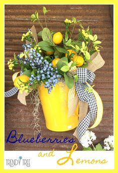 Design Inspiration - Blueberries & Lemons - All About Trendy Tree - Trendy Tree, Lemon Kitchen Decor, Diy Kitchen, Kitchen Storage, Lemon Wreath, Decoration Bedroom, Home Decoration, Room Decor, Seasonal Decor
