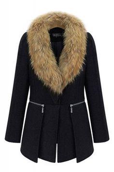 Coats I LOVE! Black Faux Fur Collar  Long Sleeve Winter Coat #Black #Faux #Fur #Collar #Chic #Stylish #Winter #Coat #Fashion