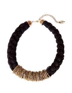 Collar trenzado metal y beads