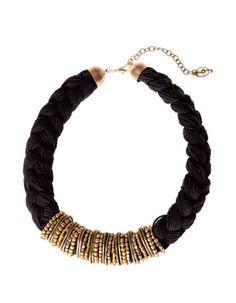 Collar trenzado metal y beads