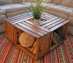 4 wooden crates turned into a coffee table!! great idea