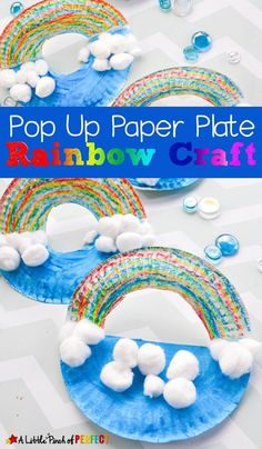 Pop Up Paper Plate Rainbow Craft for Kids: Easy to rainbow craft including a tip to show you how kids can make a rainbow without a big muddy mess of paint (St. Patrick's Day, Weather Unit, Preschool, Kindergarten, Spring) St Patricks Day Crafts For Kids, Rainy Day Crafts, Spring Crafts For Kids, Summer Crafts, Weather Crafts Preschool, Kindergarten Crafts, Rainbow Crafts Preschool, Paper Plate Crafts, Paper Plates