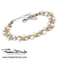 Sterling silver yellow gold plated braided freshwater pearl bracelet - available at Daniel Jewelers, Brewster New York Love Bracelets, Charm Bracelets, Bangles, Beaded Bracelets, Sterling Silver Jewelry, Antique Jewelry, Freshwater Pearl Bracelet, Jewelry Collection, York
