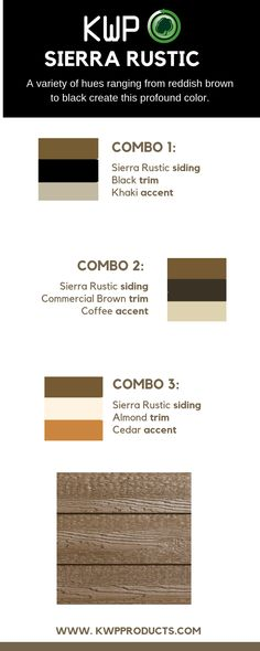 A beautiful brown shade, Sierra Rustic will set off your home's natural beauty. Rustic Houses Exterior, Cottage Exterior, Exterior Siding Colors, Brown Trim, Rustic Colors, Wood Siding, Trim Color, Brown Wood, Log Homes