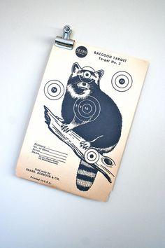 vintage paper shooting target raccoon