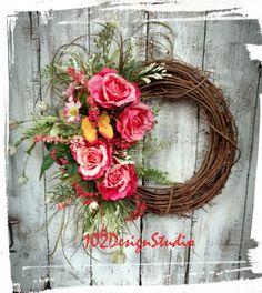 Spring Wreath Designer Wreath Door Hanger by 102DesignStudio