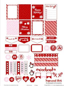 FREE Peppermint Stick Planner Stickers | Free printable download BY Vintage Glam Studio