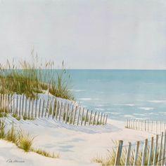 "Serene Beach Dune Fence and Ocean Art Quiet beach art with dune fence, 30 ""print stretched on a wooden frame …… www. Beach Mural, Beach Art, Beach Scene Painting, House Painting, Fence Painting, Diy Painting, Ocean Scenes, Beach Scenes, Beach Watercolor"