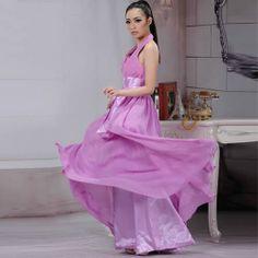 Petite-Plus Size Fuchsia Halter Long Bridesmaid Prom Ball Gown Dresses SKU-122859