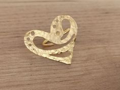 24k Gold Plated Heart Ring Adjustable Ring   Etsy Macrame Rings, Macrame Necklace, Macrame Bracelets, Green Earrings, Butterfly Necklace, Adjustable Ring, Beautiful Rings, Seed Beads, Heart Ring